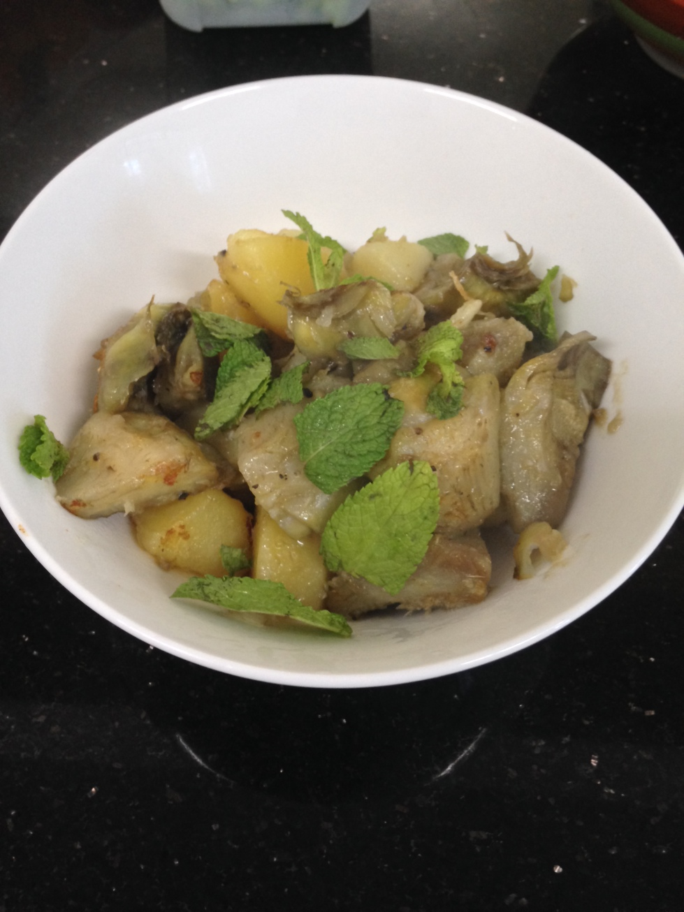Saute artichokes and potatoes