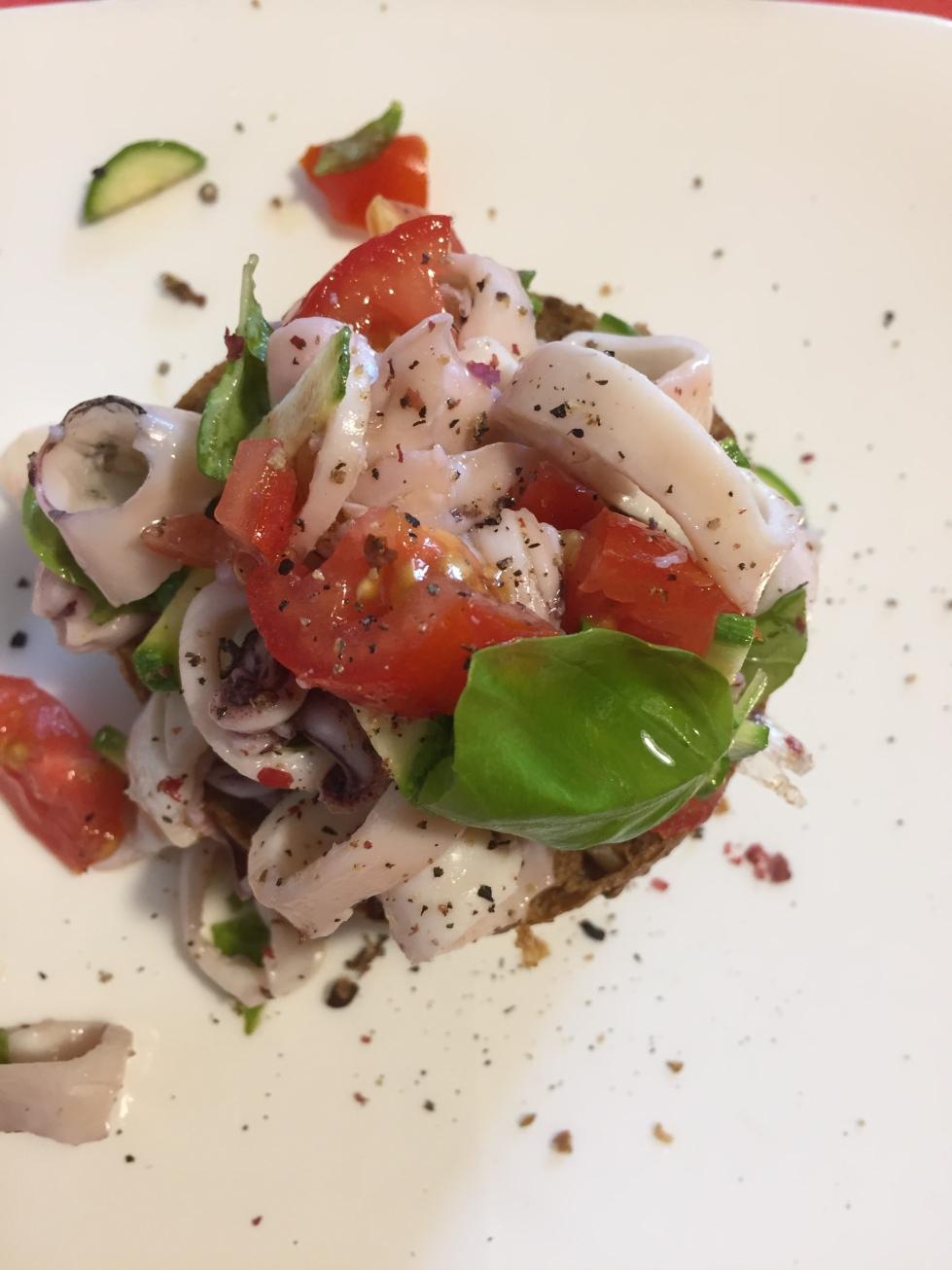 Calamari salad bruschetta