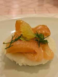 Idli with smoked salmon